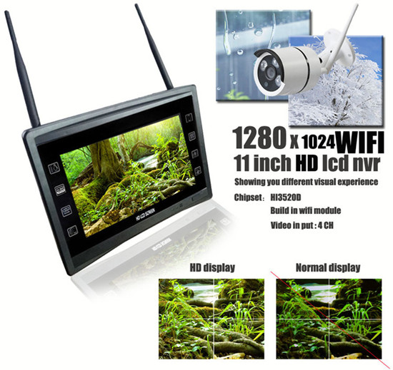 4CH 720P Wireless NVR KIT with HD Monitor